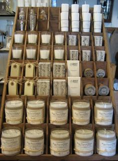 great display for tags, matchboxes, candles, etc.