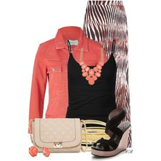 """""""Coral Denim & a Maxi"""" by colierollers on Polyvore"""