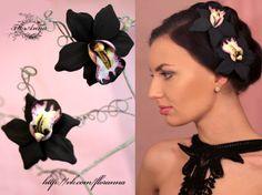 """""""Чёрная орхидея"""" заколка цветок из полимерной глины."""