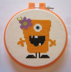 cute monster xstitch pattern in orange (minus flower) Monster Nursery, Halloween Cross Stitches, Cute Monsters, Stitch 2, Craft Patterns, Embroidery Art, Craft Tutorials, Needlepoint, Cross Stitch Patterns