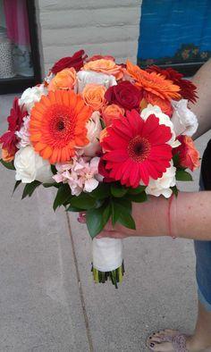 www.flowerhillflowers.com #fhflowers  #orangebridalbqt #gerberdaisybridalbqt