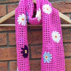 Pink Colour Crochet Scarf with Flowers £23.00