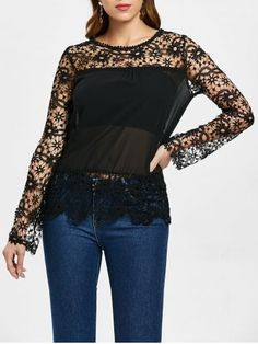 Zaful / Stylish Round Neck Long Sleeve Spliced Hollow Out Women's Blouse Cute Clothes For Women, Long Blouse, Black Blouse, Dress Black, Mini Vestidos, Plus Size Blouses, Online Clothing Stores, Lace Sleeves, Pattern Fashion