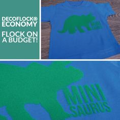 If you're looking to add flock to your designs on a budget, then check out DecoFlock® Economy! It's a soft flock perfect for blockier designs. We used Kelly Green for this fun dinosaur! 🦕 Want to learn more? Click the link to head over to DecoFlock® Economy's product page! #htv #heattransfervinyl #flockhtv #dinosaur