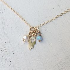Gold Hamsa Charm with opal and freshwater pearl beads