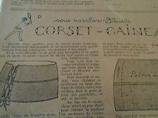 """PATRON ORIGINAL POUR LA POUPEE """" BLEUETTE , CORSET GAINE MAI 1928"""