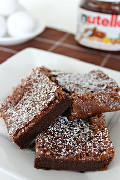 Nutella Brownies Recipe ~ DivineLifestyle.com ~ cake frosting desserts bars sugar chocolate