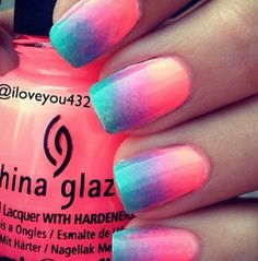 Cute neon nails for the summer!!!