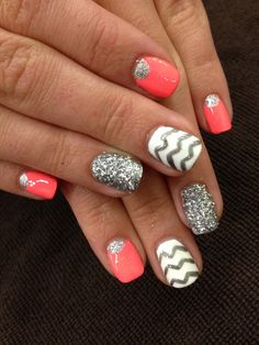 Bright, Chevron Beach Nails!!!