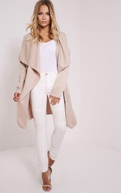 Livia Beige Lightweight Belted Waterfall Jacket Image 1