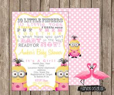 Rubber duck minion inspired baby shower invitation partyevents girl minion inspired baby shower invitation filmwisefo
