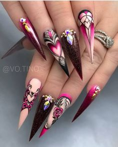 75 Chic Classy Acrylic Stiletto Nails Design You'll Love - pink Acrylic Stiletto nails design for summer nails, Classy stiletto nails long, Unique stiletto na - Dope Nails, Bling Nails, Stiletto Nails, Swag Nails, Beautiful Nail Designs, Beautiful Nail Art, Gorgeous Nails, Pretty Nails, Jolie Nail Art