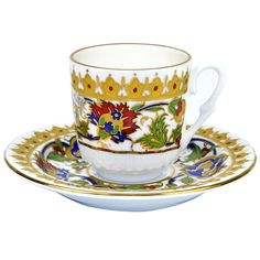 Turkish Coffee Cup with Saucer (Porcelain) - Crown