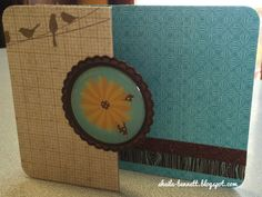"A ""z-fold"" card, inspired by Big Picture Classes Create & Share Cardmaking class. Used CTMH Skylark papers, woodgrain Washi Tape, bronze Shimmer Trim, and a nice embellishment that was hanging around in my stamp room.   #ctmh #stamp #cardmaking #zfold #bpc"