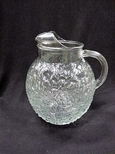 Vintage Anchor Hocking Clear Lido Milano Ball Glass Pitcher 96 Ounce Large Pitcher Textured Glass by ShabbyCandleAntiques on Etsy