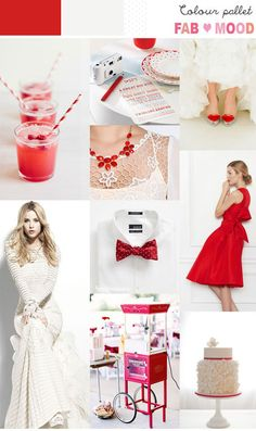 Poppy Red & White Inspiration Board can be use for winter wedding theme
