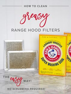 Cooking at home is great, though all those meals take a toll on your range hood filters and leave them a greasy mess. With ARM & HAMMER™ Super Washing Soda™, squeaky clean range hood filters can be yours in under 15 minutes with NO SCRUBBING required! Deep Cleaning Tips, House Cleaning Tips, Cleaning Solutions, Spring Cleaning, Cleaning Hacks, Cleaning Grease, Cleaning Stove, All You Need Is, Handy Gadgets