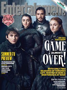 ATUALIZADO em 26/05/2017 com mais fotos da revista EW, agora destacando os atores que interpretam os irmãos Stark remanescentes: Kit Harington (Jon Snow), Sophie Turner (Sansa), Maisie Williams (Ar…