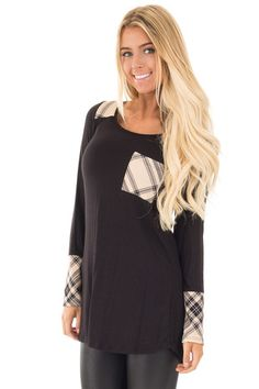 Black Top with Cream Plaid Detail front close up