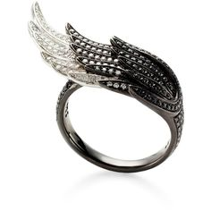 AS29 Small Wing Ring ($5,700) ❤ liked on Polyvore featuring jewelry, rings, accessories, 18k ring, white gold rings, white gold jewellery, drusy jewelry ve 18k white gold jewelry