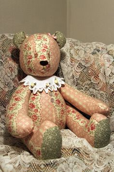 Jointed Patchwork Teddy Bear  Pink Stripe by victoriancrafts, $29.99
