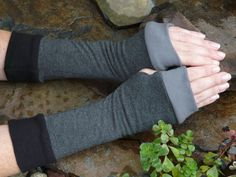 Bamboo Knit and lycra Fingerles Arm Warmes / Gloves Completely by Gasspedals, $30.00 ideal for running, cycling, texting, driving.