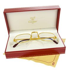 Auth CARTIER Logos Reading Glasses Eye Wear Gold Clear Vintage France V10961