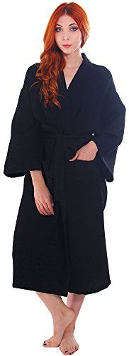 Simplicity Men/Women's 100% Cotton Waffle Weave White Spa Robe,Black. 100% Cotton material. Incredibly soft & comfortable. 2 Pockets & adjustable/removable belt. Kimono style collar, full length waffle texture robe. Perfect lightweight, breathable robe for relaxing & lounging at home or at a spa resort; Please check Product Description for sizing information.