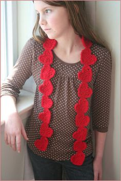 Valentine Love Heart Scarf  CROCHET PATTERN  by HipChicksDesign