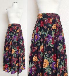 Vintage Floral and Paisley Print Full Black Midi Skirt by SadieBess, $26.00