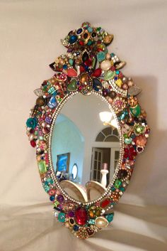Perfect gypsy mirror! Jeweled Mirror by RexannasCreations on Etsy