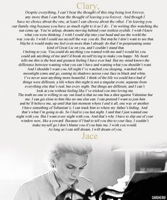 Jace's letter to Clary,