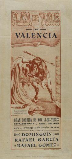 Anónimo. (S. XX)   Plaza de Toros de Valencia ... [Material gráfico] : Gran corrida de novillos-toros ... para el Domingo 2 de Octubre de 1910 ... — [S.l. : s.n., 1910?] (Valencia : Imp. y Lit. J. Ortega)  1 lám. (cartel) : col. ; 42 x 20 cm