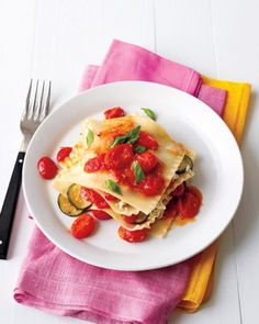 Make this light, fresh interpretation of lasagna without ever turning on the oven. Layer halved, boiled lasagna noodles with garlicky sauteed tomatoes, zucchini, basil, and a mixture of ricotta and Parmesan cheeses. Get the No-Bake Summer Lasagna Recipe