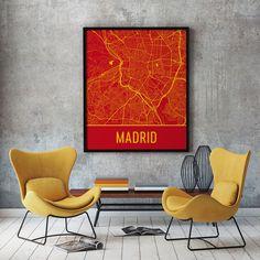 Madrid Spain Map, Art, Print, Poster, Wall Art.