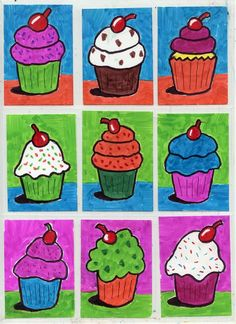 How to Draw a Cupcake · Art Projects for Kids Andy Warhol Pop Art For Kids, Art Lessons For Kids, Art Lessons Elementary, Projects For Kids, Art Projects, Cupcake Painting, Cupcake Drawing, Cupcake Art, Art Cupcakes