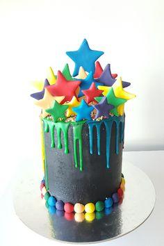 Colourful drip stars cake 2nd Birthday Cake Boy, Colorful Birthday Cake, Happy Birthday Cake Photo, Pig Birthday Cakes, Birthday Cakes For Teens, Cakes For Boys, Birthday Cake For Women Simple, Star Cakes, Big Cakes
