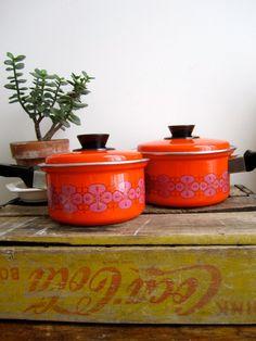 Orange Enamel Pots by ShopPilgrim on Etsy