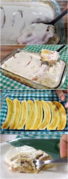 Uma verdadeira delicia de banana!! Aprenda a fazer essa banana na travessa --> 7 BANANAS NANICA FATIADAS – 1 CAIXA DE LEITE CONDENSADO – 1 LIMÃO ESPREMIDO #receita#bolo#torta#doce#sobremesa#aniversario#pudim#mousse#pave#Cheesecake#chocolate#confeitaria My Recipes, Sweet Recipes, Banana Pudding, Sweet Life, Cheesecakes, Camembert Cheese, Ale, Frozen, Food And Drink