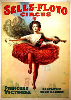 Sells Floto 3 Circus Vibrant Colors 11 x 17 Reproduction Print Vintage by MahoneyLane on Etsy