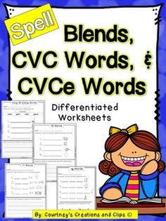 Blends, CVC, and CVCe Words- Differentiated. Courtney's Creations and Clips