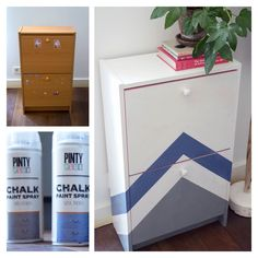 A furniture makeover using Ash Grey & Blue Indigo Pinty Plus Chalk Paint spray