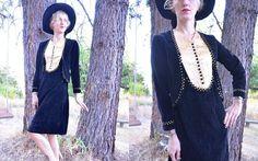 Edwardian Gothic Studded Velvet & Silk Vampire Suit Dress