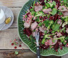 LeaderBrand Beetroot broccoli and lamb salad