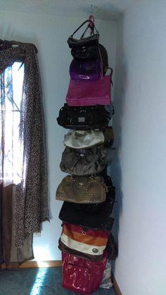 Diy purse storage and 🛍️ Purses and Bags Diy Purse Display, Diy Purse Organizer, Handbag Storage, Diy Handbag, Organizing Purses In Closet, Small Closet Organization, Handbag Organization, Organize Purses, Creative Closets