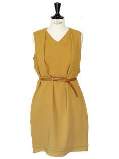 Robe en crêpe de soie jaune marron Px boutique $500 Taille 38/40