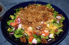 Hamburger Salad for those days you are craving a burger. Dressing is only 20 calories, and the serving size is more than 2 tbsp.