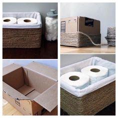 Dica de organização para o banheiro – Faça você mesmo – Caixa de papelão e corda sisal