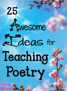 25 Great Ideas for Teaching Poetry. Whether you are starting a poetry unit or want to integrate poetry into your curriculum all year long, here are some ideas to make poetry fun and meaningful for your students. Teaching Poetry, Teaching Writing, Writing Activities, Teaching English, Teaching Ideas, Teaching Spanish, English Teachers, Reading Resources, Teaching Strategies