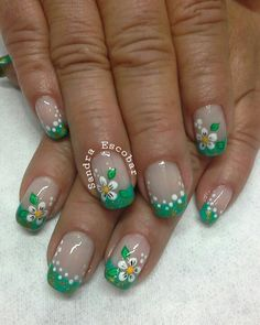 Floral and Colored French tips mani Fabulous Nails, Gorgeous Nails, Nail Designs Spring, Nail Art Designs, Cute Nails, Pretty Nails, Irish Nails, French Nail Art, Flower Nail Art